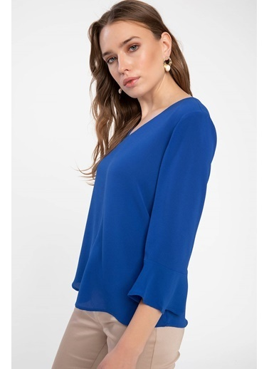 DeFacto Volan Detaylı Bluz Mavi
